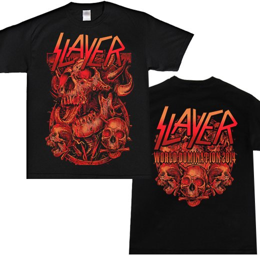 <img class='new_mark_img1' src='https://img.shop-pro.jp/img/new/icons1.gif' style='border:none;display:inline;margin:0px;padding:0px;width:auto;' />Slayer / スレイヤー - Three Skulls 2014 Dates. Tシャツ【お取寄せ】
