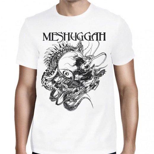 Meshuggah / メシュガー - Spine head (White). Tシャツ【お取寄せ】