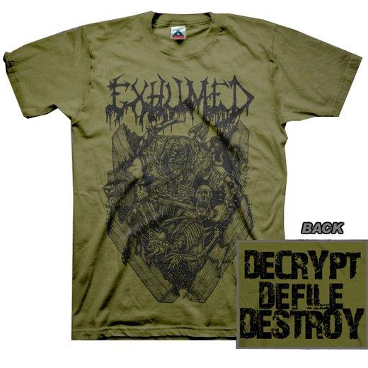 【お取寄せ】Exhumed / イグジュームド - Casket Crusher (Olive). Tシャツ