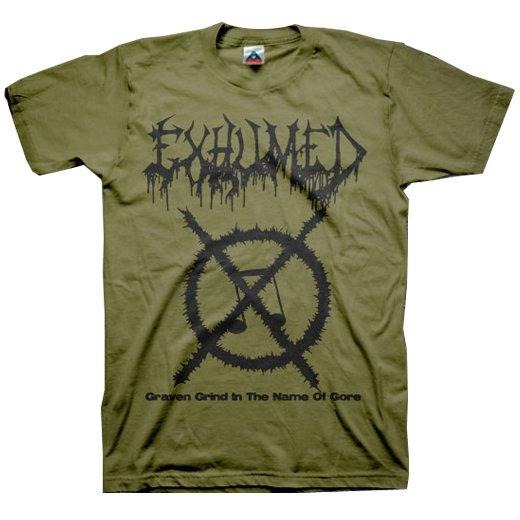 【お取寄せ】Exhumed / イグジュームド - Grind Symbol (Olive). Tシャツ