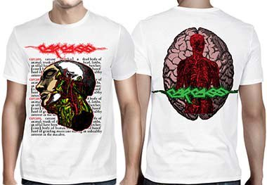 Carcass / カーカス - Anatomical Head (White). Tシャツ【お取寄せ】