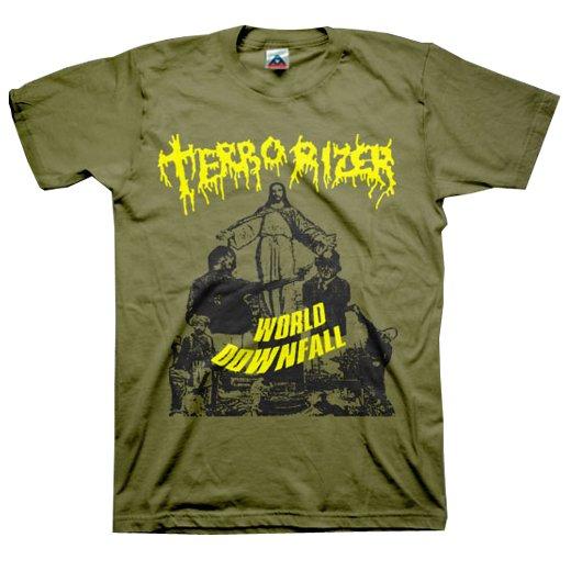 Terrorizer / テロライザー - World Downfall (Olive). Tシャツ【お取寄せ】