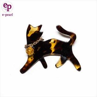 猫好きの貴女に癒される 猫ちゃん 本べっ甲 琥珀ブローチ nekozuki kawaii