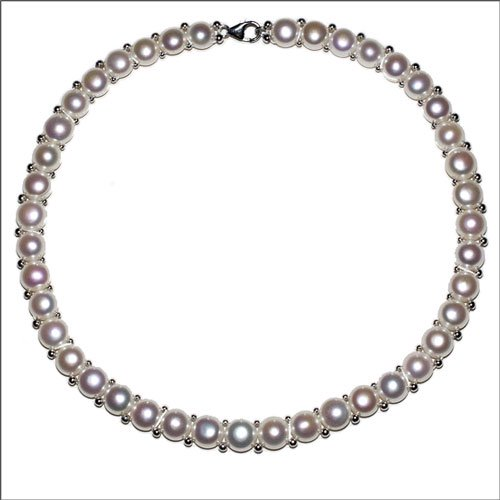 オメガネック調で清楚・高級感もある淡水真珠ネックレス