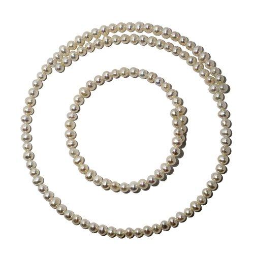 ホワイトカラー淡水真珠のネック&ブレス2点セット