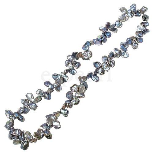 淡水真珠ケシグレーカラーの70�ロングネックレス