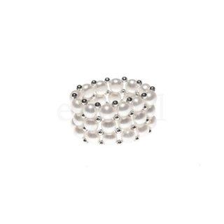 3連 ボリューム感 ホワイトカラー淡水パールフリーサイズリング かわいい おしゃれ 真珠