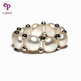可愛くて人気のホワイトカラー淡水パールフリーサイズリング かわいい おしゃれ 真珠