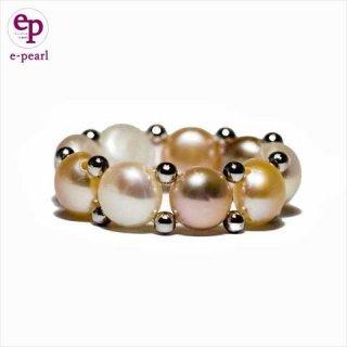 可愛くて人気の明るい彩りのマルチカラー 淡水パールフリーサイズリング かわいい おしゃれ 真珠