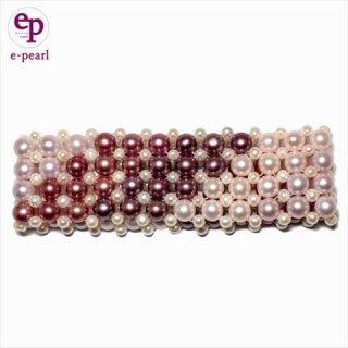 淡水パール白〜ピンク系  平編みフリーサイズ ブレスレット クリックポスト送料無料