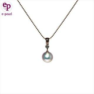 高品質アコヤ真珠9-9.5mmダイヤモンド(0.1ct)付ペンダント K18ピンクゴールド スライドチェーンネックレス あこや