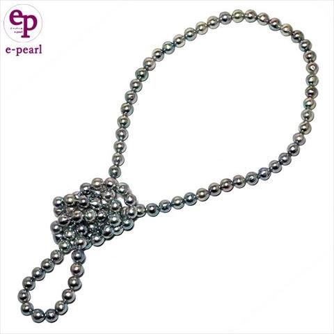 アコヤ真珠セミラウンド7.5-8mmナチュラルブルー(グレー)カラー80cmロングネックレス- e-pearl