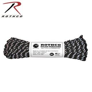 ROTHCO ナイロンパラコード リフレクティブブラック 30m (100ft)