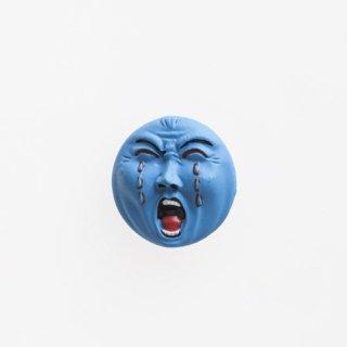 横尾忠則 アート立体バッジ「泣き笑い人生」:ブルー