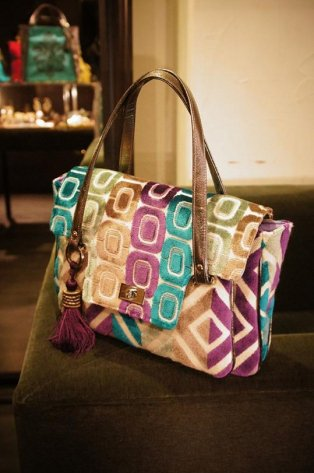 JOJO SWALLOW HandBag Purple/Green/Beige