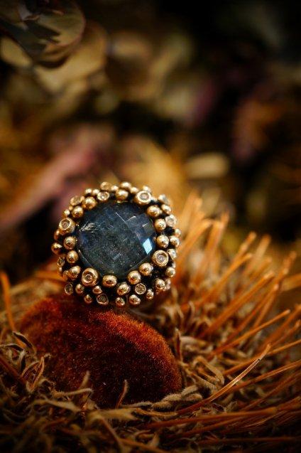 Diamond Ring (ダイヤモンドリング)[AN909]Bronze Labradorite/Onix/Crystal】オーダー商品