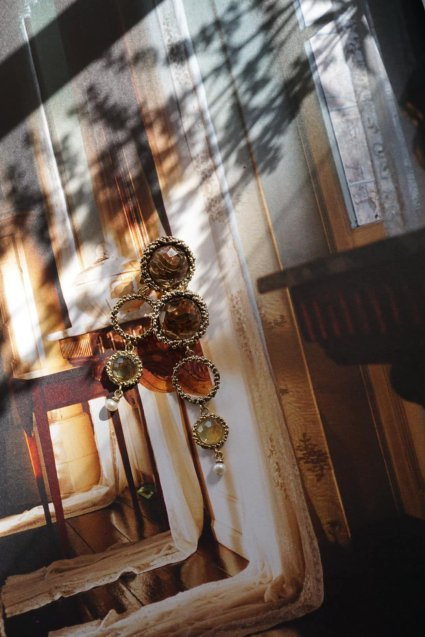 Contamination Model Earrings(イヤリング)short版OR1144 BZBR Smoky.Q/Lemon.Q/Pearl