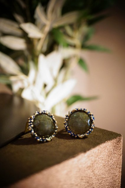 Small Crown Earrings (イヤリング)[OR1085BIS OMI Labradorite] オーダー商品