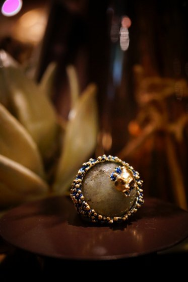 Classic Ring w frog design (リング)[AN029 OMI Labradotrite]