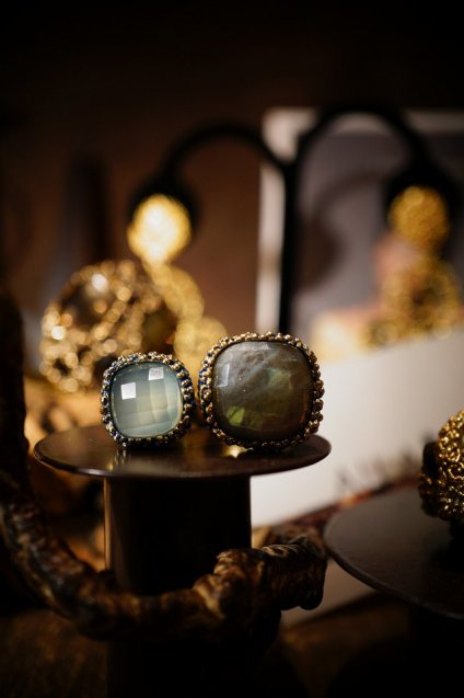 Segreti collection double stone Ring (リング)[AN157 OMI Labradorite/NewJade