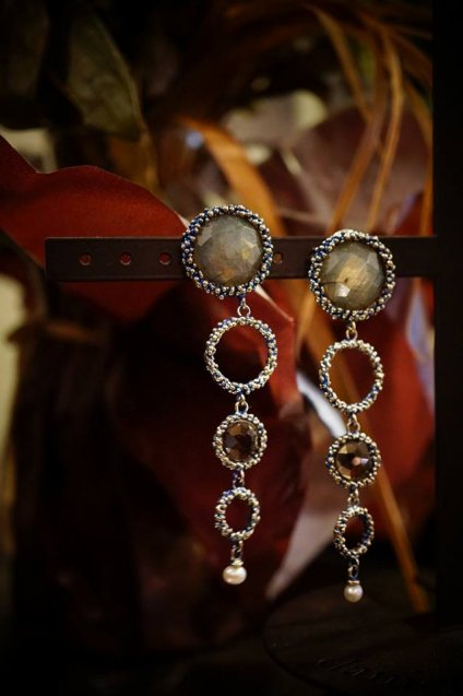 Contamination Model Earrings/Pieces(イヤリング/ピアス)OR1141 OMI Labradorite/Smoky.Q/Pearl