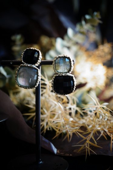 Scacco(チェス)Collection Earrings/Pieces(イヤリング/ピアス)[OR1303 OTAG Labradorite/Onix] オーダー商品
