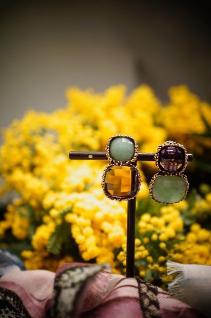 Scacco(チェス)Collection Earrings/Pieces(イヤリング/ピアス)[OR1303 OTBR Avventurina/Amesist] オーダー商品
