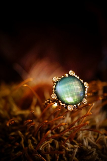 Diamond small Ring AN913 BZBR GreenAgate/Mother of Pearl/Crystal オーダー商品