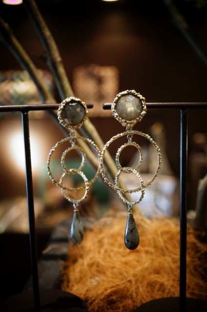 Chandelier Earrings/Pieces(イヤリング/ピアス)[OR1093 OTAG Labradorite]オーダー生産商品