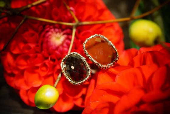 Segreti collection double stone Ring (リング)[AN157 OTBR Corniola/Smoky.Q