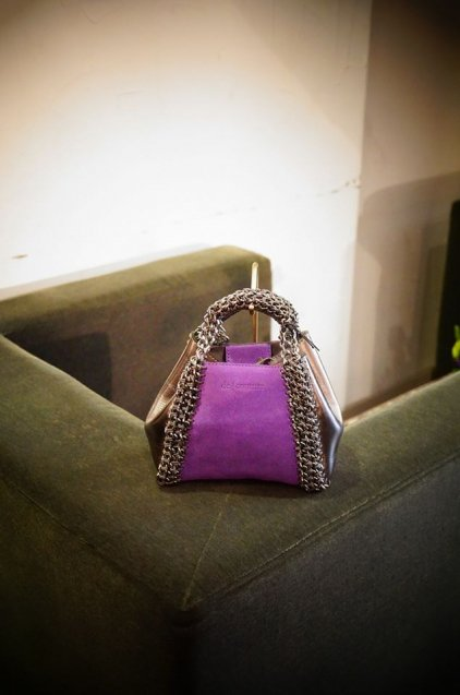 de Couture2WAYチェーントートバッグSSサイズ  Purple(Suede)/MetallicSilver