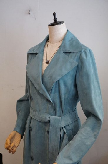 DESA Leather TrenchCoat ロング丈 K11626 Light suede LakeBlue