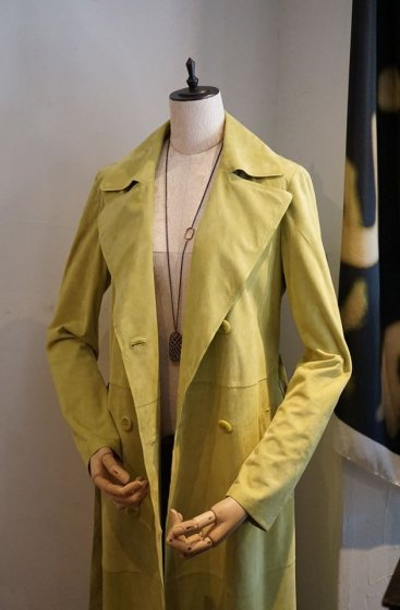 DESA Leather TrenchCoat ロング丈 K11626 Light suede Limeyellow