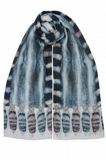 カシミア大判ストール XL長方形 アニマル柄Tail Deer Blue/White/Multi