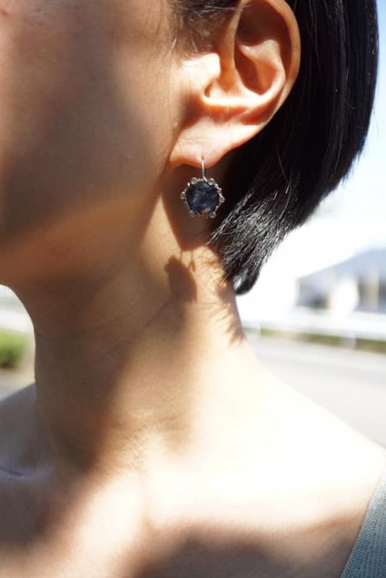 Diamond Small Pieces (ピアス)[OR1914 AGBR Sodalite/Onix/Crystal]