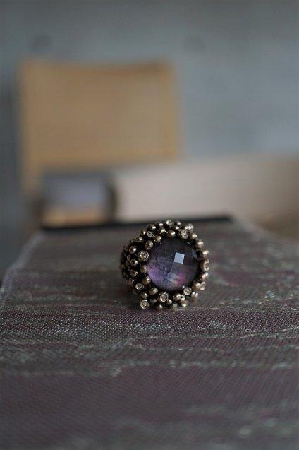 Diamond Ring (ダイヤモンドリング)[AN909 BZBR Bronze Amesist/Black mother of pearl/Crystal】Freesize