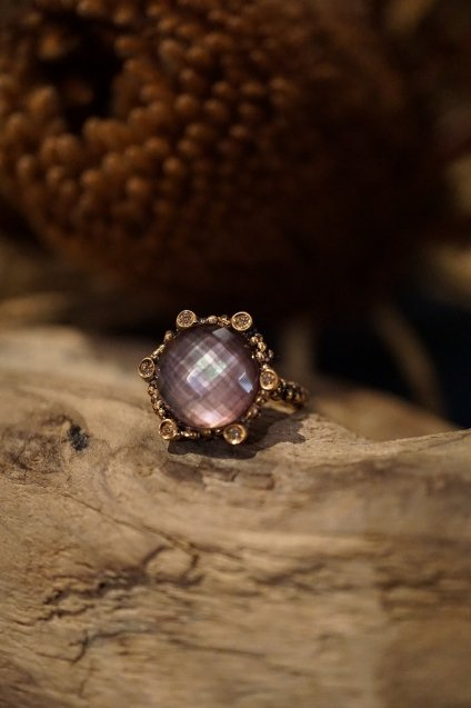 Diamond small Ring AN913 BZBR Amesist/Mother of Pearl/Crystal
