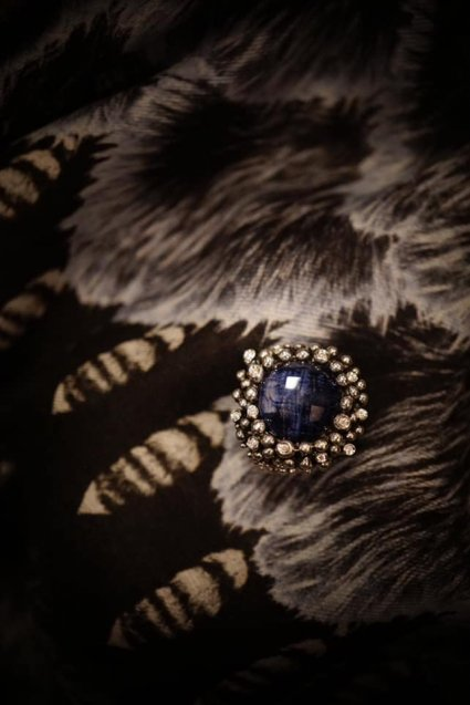Diamond Ring (ダイヤモンドリング)[AN909]Silver Sodalite/Onix/Crystal】Freesize