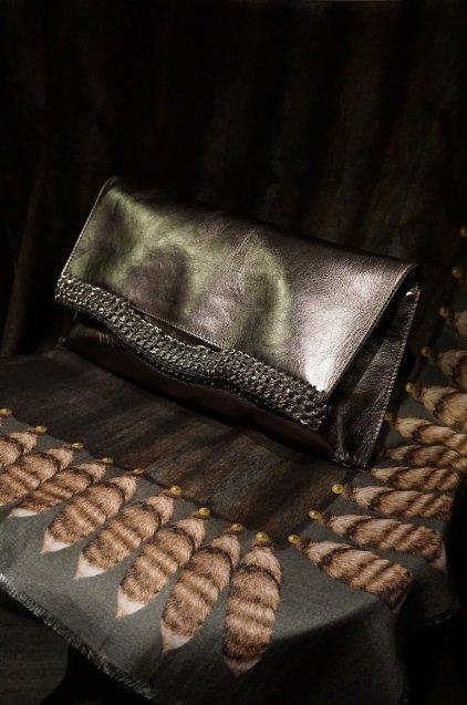 de Couture(デクチュール)レザークラッチバッグL 3WAY Metallic Silver