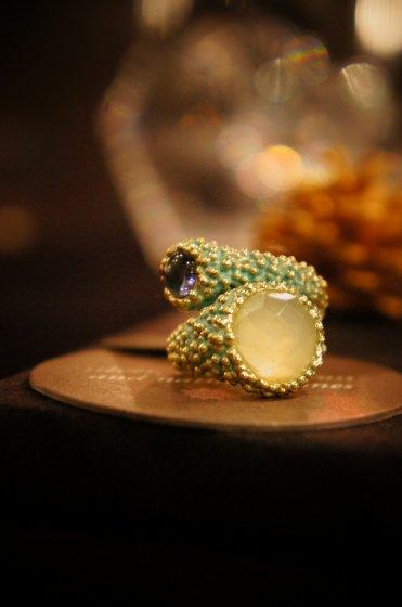 Daniela de Marchi Double Stone Ring(リング)フリーサイズ[AN108 OTTURK NewJade/Labradorite]