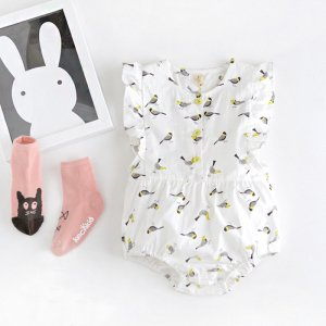 little bird print rompers