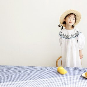 embroidery puff dress