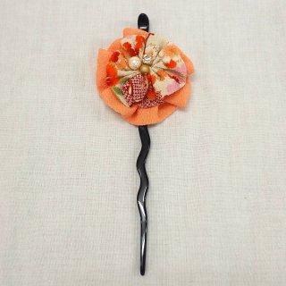 髪飾り かんざし オレンジ/白