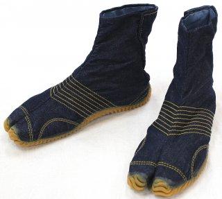 デニム地下足袋 ネイビー、ブルー、ブラック 6枚コハゼ 男女兼用 23.0〜28.0(ハーフサイズあります)