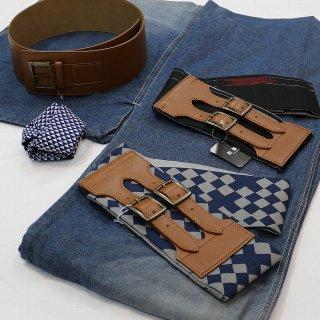 デニム着物はじめてみませんか デニム着物スターターセット 男性用 紺 簡単に着られます 帯ベルト(市松柄、矢羽柄、革)18,710円より