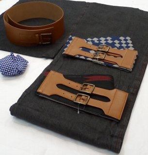 デニム着物はじめてみませんか デニム着物スターターセット 男性用 黒 簡単に着られます 帯ベルト(市松柄、矢羽柄、革)18,710円より