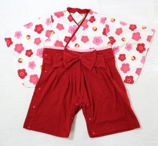 はかま風 ロンパース 女の子 はかまの色赤、ピンク サイズは70cm、80cm 袴風 カバーオール
