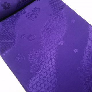 正絹長襦袢地 綸子 紫色 本紫