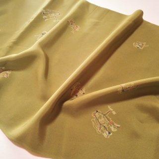 正絹長襦袢地 モダンな星座柄 うぐいす色 グリーン