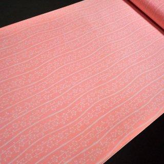 正絹長襦袢地 本加賀友禅染 桃色によろけ竹縞